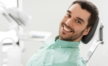 Man smiling during preventive dentistry visit